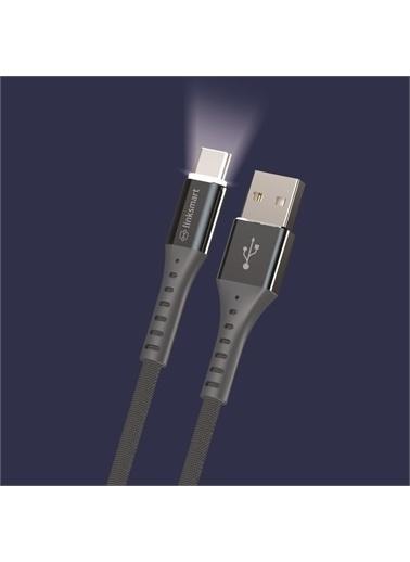Linksmart Lsm06 Led Aydınlatmalı Type-C Şarj Ve Data Kablosu 120 Cm Renkli
